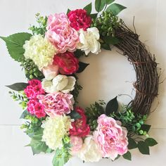 Spring wreath summer wreath front porch decor wreath for Diy Wreath, Grapevine Wreath, Burlap Wreath, Wreath Ideas, Wreaths For Front Door, Mesh Wreaths, Front Porch, Year Round Wreath, Wax Flowers