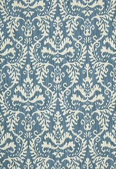 "Tiraz Cotton Ikat Schumacher Fabric  Tiraz Cotton Ikat  Indigo  Fabric SKU - 54913  Width - 56""  Horizontal Repeat - 14.125""  Vertical Repeat - 21.5""  Fabric Content - 92% Cotton / 8% Poliammidic  Country of Finish - France  This product is featured in Chroma - Fall 2011, BK760120311."