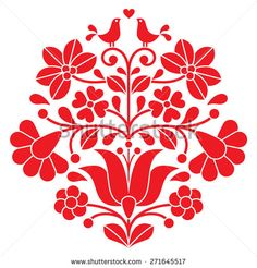 Kalocsai red embroidery - Hungarian floral folk pattern with birds - stock vector