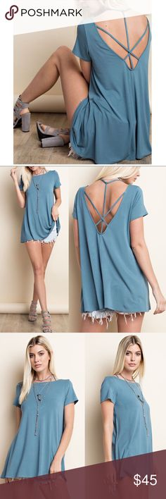 KENDRA Criss Cross Open Back Top - LT. TEAL Soft modal material.  Great stretch.    NO TRADE   PRICE FIRM Bellanblue Tops Blouses
