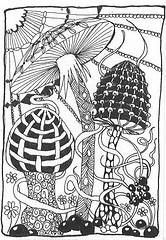 Mushrooms | Flickr - Photo Sharing! Tangle Doodle, Doodles Zentangles, Zen Doodle, Zentangle Patterns, Doodle Art, Mushroom Drawing, Mushroom Art, Free Coloring Pages, Coloring Books