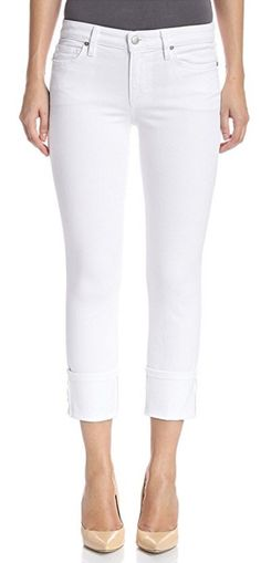 """JOES JEANS SALE NWT/DEFECT Mid Rise White 4"""" Cuffed Crop Cropped Stretch Jean 26 #JoesJeans #CapriCroppedSlimSkinny"""