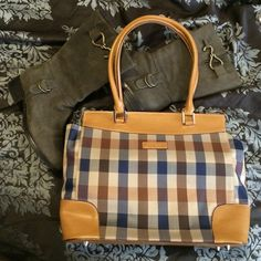 """⚡️ FLASH SALE⚡️Plaid & """"Leather"""" Handbag This plaid beauty is perfect for the summer! I put leather in quotations bc I'm not sure 100% sure if it is or not. It's feels and looks like it but I'm not certain. Very small blemish on the front, in the bottom and near the buckle of one of the straps. None noticeable when wearing but I'm honest  Feel free to ask for more photos if interested  Bags"""