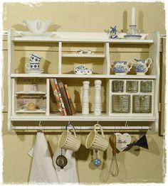 Küchenregal, Wandregal, Küchenregale, Shabby chic von Ansolece auf DaWanda.com