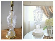 how to transform your brassy thrift store lamp ~ I love this idea!  May have to retrieve a couple of lamps from my yard sale box in the garage. Lamp Makeover, Furniture Makeover, Lamp Redo, Diy Furniture, Brass Lamp, Lamp Bases, Spray Paint Lamps, Painting Lamps, Paint Brass
