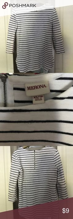 Merona Striped Top! Adorable white top with black stripes. Half zip on the back and 3/4 sleeves. Excellent used condition. This is a thicker material. Merona Tops Blouses