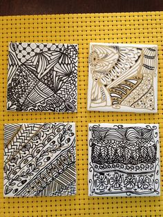 Doodled and Tangled on a ceramic tile using an oil-based Sharpie. Spray with a coat of acrylic top coat for waterproofing, and add a cork squares or felt squares to the back to protect your furniture. Nailed it!!