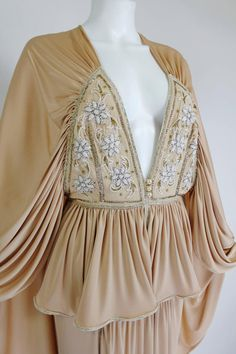 1970s Bill Gibb Ethereal Gown with Floral Beading and Plunging Neckline