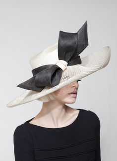 Off white parisisal/lattice sinamay wide-brim hat trimmed with pinok-pok bow | Dillon Wallwork | Spring/Summer Collection
