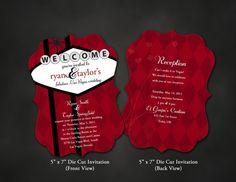 25 Las Vegas Wedding Invitations Custom Die Cut Ornate by pixNpag, $75.00