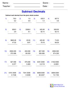 Number Lines Worksheets with Decimals