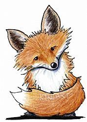 Fox by KiniArt. Good subject matter for a colored pencil lesson, with layering for the shading.