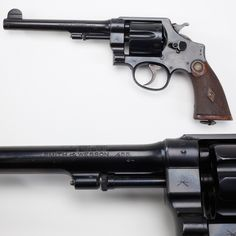 "Smith & Wesson .455 Mark II Hand Ejector Second Model - Nearly 70K revolvers were produced in the .455 chambering btw 1915-1917 to work alongside the long-serving series of Webley handguns for the British military. When British military handguns were deaccessioned, a 2nd ""broad arrow"" was added to the existing markings – neatly ""Xing"" out the firearm. Proofing regulations also required that foreign-made arms had to be re-proofed before sale in Great Britain. National Firearms Museum…"