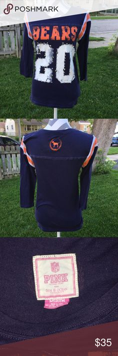 Pink Chicago Bears 🐻 long sleeve tees Rare pink long sleeve tees Chicago Bears 🐻. Size is medium and color is blue with orange. Very nice tees to get ready for Monday night football 🏈 GO BEARS 🐻... this shirt were only release one season... PINK Victoria's Secret Tops Tees - Long Sleeve