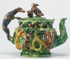 Portuguese Majolica Tea Pot with Hound and Rabbit Teapots And Cups, Teacups, Tea Strainer, Tea Kettles, Teapots Unique, Tea Cup Set, Ceramic Art, Ceramic Teapots, Antique China