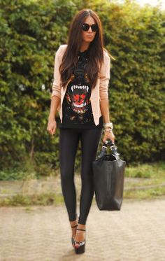 Liquid leggings, graphic tee and blazer. Sassy.