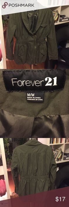 Forever 21 jacket Forever 21 army green 100% cotton lightweight jacket with elastic waist, cinch tie at bottom, zip asymmetrical and deep V collar. Very cute, casual and flattering Forever 21 Jackets & Coats
