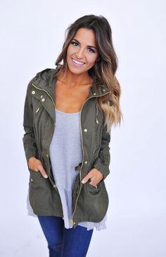 Olive Zipper Jacket - Dottie Couture Boutique
