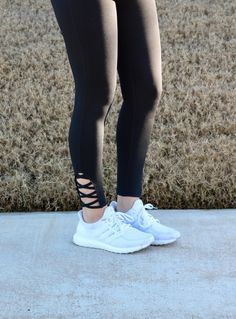 Our Emma Crisscross Leggings are available in black! These super cute stretchy athletic pants are comfortable and unique. Great for the gym or everyday lounge wear! Each leg has a cut out design on th