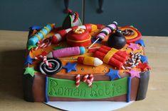 Fireworks birthday cake. Made by AMBD. Birthday Board, Birthday Cakes, Bonfire Night Cake, Fireworks Cake, Marzipan Cake, Homework Ideas, Online Cake Delivery, New Year's Cake, Wedding Fun