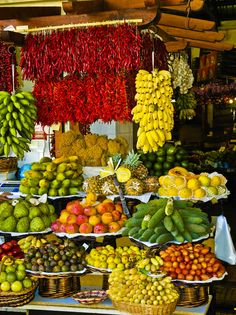 Mercado dos Lavradores, Funchal, Madeira, Portugal - i just love markets around the world, all the different types of produce amazes me World Food Market, Street Food Market, Funchal, Photo Fruit, Fresh Food Market, Produce Displays, Fruit Shop, Fruit Stands, Tropical Fruits