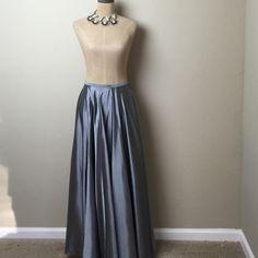 Gorgeous Karen Kane full length taffeta  skirt Beautiful pewter shimmer. Full length. Unlined with back zip. 100% acetate freshly dry cleaned Karen Kane Skirts Maxi