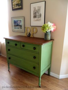 Picked & Painted: Vintage Green Dresser - very similar to the dresser I want to redo