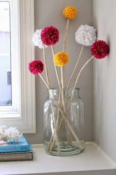 Apr 30 Mantel Decor with Pom Pom Truffula Trees Pom poms make me happy. Not only are they cheap and super easy to make, but they make me smile every time. Diy Crafts Hacks, Diy Home Crafts, Diy Crafts To Sell, Diys, Diy Projects, Creative Crafts, Tree Branch Centerpieces, Branch Decor, Pom Pom Centerpieces