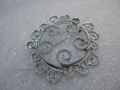 """Vintage Sarah Coventry Scrolled Brooch, 1970's, 2"""", Silver Tone"""