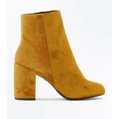 Yellow Velvet Block Heel Ankle Boots (155 RON) ❤ liked on Polyvore featuring shoes, boots, ankle booties, lemon, bootie boots, ankle boots, yellow booties, round toe ankle boots and yellow boots