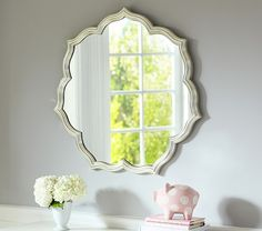 Find baby girl nursery ideas and more at Pottery Barn Kids. Prepare for your baby girl and shop our baby girl room inspiration. Nursery Mirror, Nursery Room, Girl Nursery, Nursery Decor, Nursery Ideas, Nursery Gray, Project Nursery, Girls Bedroom, Wall Decor