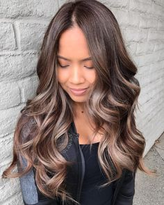 Delicate Ash Blonde Balayage For Chocolate Hair