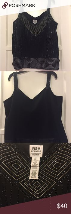 Beaded tank or cami size 22W Lovely, good quality.  Polyester crepe lined in acetate.  Beaded front, plain back.  Flattering front V neckline.  Works well on its own or with a dressy jacket or waterfall cardigan. R&M Richards Tops Tank Tops