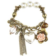 Vintage Heart Charm Bracelet ($6) ❤ liked on Polyvore