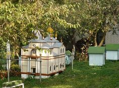Koretsky Holy Trinity Convent in Ukraine has a beehive shaped like an Orthodox Church in their apiary.
