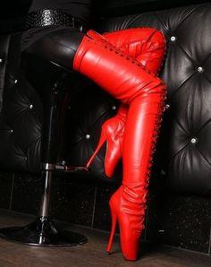 Red thigh high ballet boots