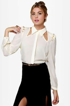Sexy Studded Top - Cream Top - Sheer Top - Cutout Top - Button-Up Top - $46.00