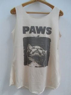 Cat paws Shirt -- Cat Shirt Cat T-Shirt Animal Shirt White Shirt Women Shirt Tank Top Women T-Shirt Tunic Top Vest Sleeveless Size S,M,L