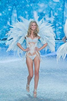 Feather Wings and Corset sparkling with Swarovski crystals, worn by Angel Toni Garrn, 2013 Victorias Secret Fashion Show #VSFashionShow