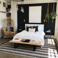 Not sure what size rug to buy? Check our stories to see our super helpful rug guide 〰 design by @jdpinteriors Black Bedroom Walls, Airy Bedroom, Black Accent Walls, Black Rooms, Accent Wall Bedroom, Wood Bedroom, White Bedroom, Master Bedroom, Bedroom Decor