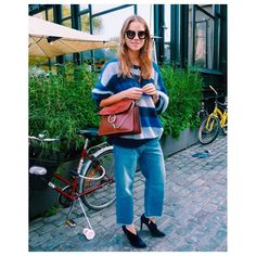 Blogger Trine Kjær wearing Ganni Pearl St. Sweater from F/W 2015 collection.
