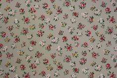 Small Red Roses and White Flowers on Gray Vintage Wallpaper