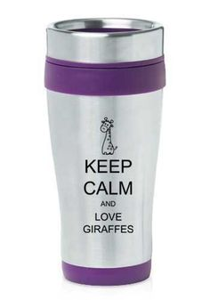 Purple 16oz Insulated Stainless Steel Travel Mug Z423 Keep Calm and Love Giraffes