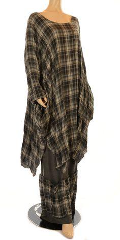 Yiannis Karitsiotis New Season Grey Check Crushed Tunic Dress