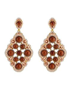 "Miguel Ases Gold Stone and Miyuki Earrings Swarovski crystal andmiyuki 14k gold fill 3"" long x 1.5 wide"