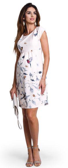 Birdie нарядное платье кремового цвета в узор птицы