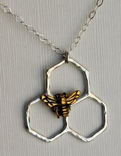 Mini Sterling Silver Honeycomb Necklace by Rachel Pfeffer by Rachel Pfeffer. Via Diamonds in the Library.