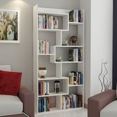 Shop Decorotika Dream Accent Bookcase with Asymetrical 10 Shelves - Overstock - 21073996 Creative Bookshelves, Modern Bookshelf, Bookshelf Design, Modern Shelving, Furniture Deals, Diy Furniture, Cube Bookcase, Bookcase White, Bookcases