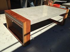 Wood with concrete coffee table