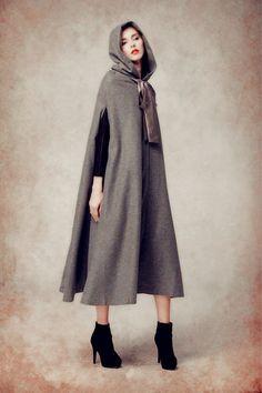 Wool cloak coat grey wool coat wool jacket wool hooded coat hoodie coat wool hooded cloak in black red purple blue and green (179.00 USD) by camelliatune